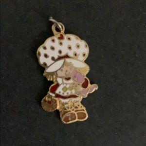 VINTAGE Strawberry Shortcake enamel pendant